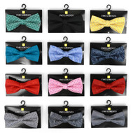 12pc Prepack Assorted Paisley Pattern Poly Woven Banded Bow Ties FBB-PSY