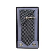 Black Micro Poly Woven Tie, Matching Hanky, Cufflinks & Tie Bar Set PWTHBK2BX