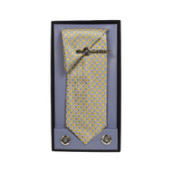 Yellow Micro Poly Woven Tie, Matching Hanky, Cufflinks & Tie Bar Set PWTHYW7BX