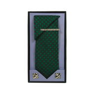 Green Micro Poly Woven Tie, Matching Hanky, Cufflinks & Tie Bar Set PWTHGN4BX