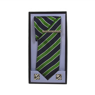 Green Micro Poly Woven Tie, Matching Hanky, Cufflinks & Tie Bar Set PWTHGN9BX