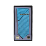 Turquoise Micro Poly Woven Tie, Matching Hanky, Cufflinks & Tie Bar Set PWTHTQ3BX