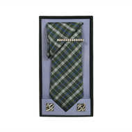 Olive Micro Poly Woven Tie, Matching Hanky, Cufflinks & Tie Bar Set PWTHOL1BX