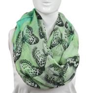 6pc Light Fade Green Butterflies Paris Yarn Infinity Viscose Novelty Scarves