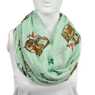 6pc Teal Green Brown Owls Paris Yarn Infinity Viscose Novelty Scarves