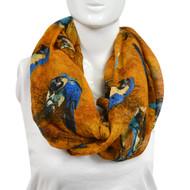 6pc Goldish Brown Birds Paris Yarn Infinity Viscose Novelty Scarves
