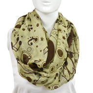 6pc Yellow Brown Notes Paris Yarn Infinity Viscose Novelty Scarves