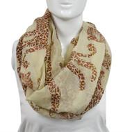 6pc White Leopards Paris Yarn Infinity Viscose Novelty Scarves
