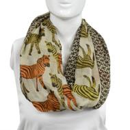 6pc Gray Zebras Paris Yarn Infinity Viscose Novelty Scarves