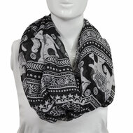 6pc Black and White Elephants Paris Yarn Infinity Viscose Novelty Scarves