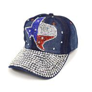 "Bling Studs ""Texas State"" Denim Cap"