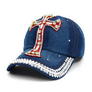 "Bling Studs ""Red Cross"" Denim Cap (CP10179)"