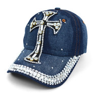 "Bling Studs ""White Cross"" Denim Cap (CP10181)"