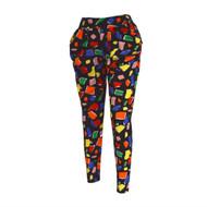 12pc Geometric Print Black Harem Pants