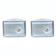 Silver-tone Crystal White Stone Rectangle Brass Cufflinks
