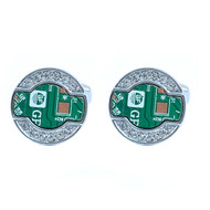 "Silver-tone ""Circuit Board"" Brass Novelty Cufflink"