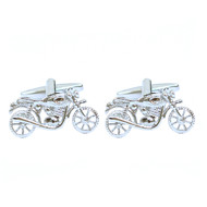 "Silver-tone ""Motorcycle"" Brass Novelty Cufflink"