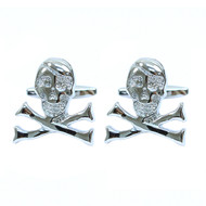 "Silver-tone ""Skull"" Brass Novelty Cufflink"