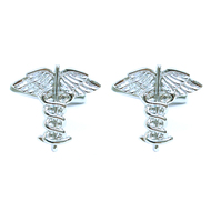 "Silver-tone ""Medical Symbol"" Brass Novelty Cufflink"