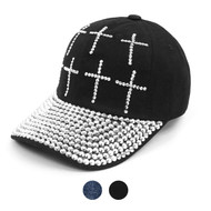 "Bling Studs ""Crosses"" Black Cap"