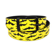 12pc Men's Yellow Black Bat Buckle Belts