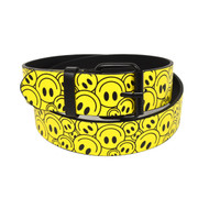 12pc Men's Yellow Smile Face Buckle Belts