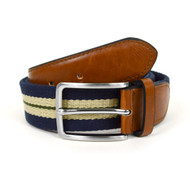 Men's Navy Braided Belts with Double Stripe MCB001