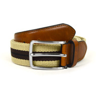 Men's Khaki Braided Belts with Brown Stripe MCB002
