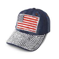 "Bling Studs Rhinestone ""American Flag"" Denim Cap (CP10173)"