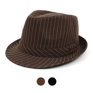 6pcs Two Sizes Fall/Winter Poly/Cotton Striped Fedora Hats H10333