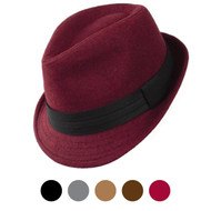 6pcs Two Sizes Fall/Winter Poly/Cotton Fedora Hats H10334