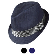 6pcs Two Sizes Spring/Summer Poly/Cotton Fedora Hats H10335