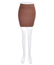 6pc Women's Brown Slim Mini Stretch Skirt