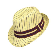 6pc Boy's Spring/Summer Navy Striped Tan Straw Fedora Hats