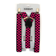 Boy's Y-Back Pink Checkered Adjustable Elastic Clip-on Suspenders BSCS1071-23