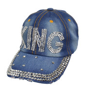 "Bling Studs ""King"" Denim Cap"