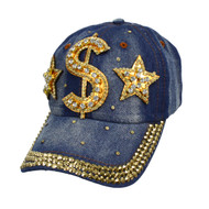 Bling Studs Dollar Sign Denim Cap