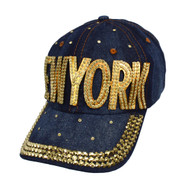 "Bling Studs ""New York"" Denim Cap"