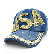 "Bling Studs ""USA"" Denim Cap, Hat (CP10281)"