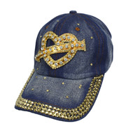 Bling Studs Heart Symbol Denim Cap (CP10282)