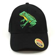 Frog Black Embroidered Baseball Cap