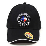 Texas Flag Map Black Embroidered Baseball Cap