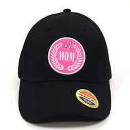 #1 Mom Black Embroidered Baseball Cap
