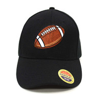 Football Black Embroidered Baseball Cap