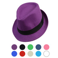 6pcs Two Sizes Spring/Summer Solid Fedora Hat H10342