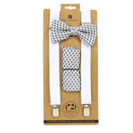 3pc Men's White Clip-on Suspenders, Bow Tie and Hanky Sets FYBTHSU9