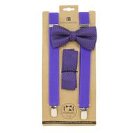 3pc Men's Purple Clip-on Suspenders, Dotted Bow Tie & Hanky Sets FYBTHSU-PU29
