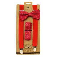 3pc Men's Red Clip-on Suspenders, Bow Tie and Hanky Sets FYBTHSU24