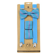 3pc Men's Turquoise Clip-on Suspenders, Bow Tie and Hanky Sets FYBTHSU27