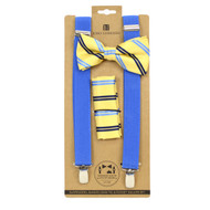 3pc Men's Light Blue Clip-on Suspenders, Bow Tie and Hanky Sets FYBTHSU-LTBL